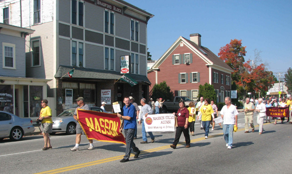 Nasson College Alumni showing spirit in a parade!